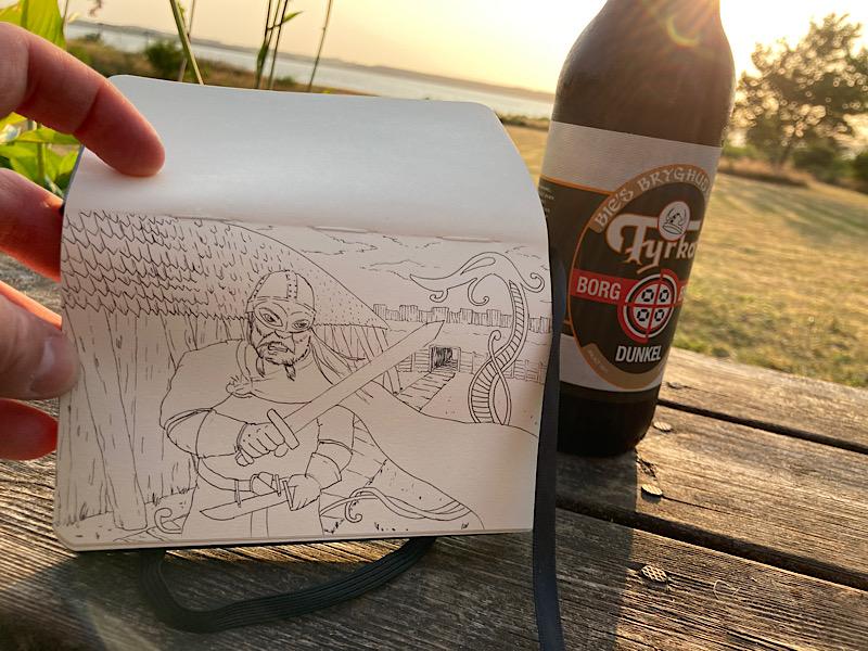 tegning vikingeborg niels hovmand-hansen